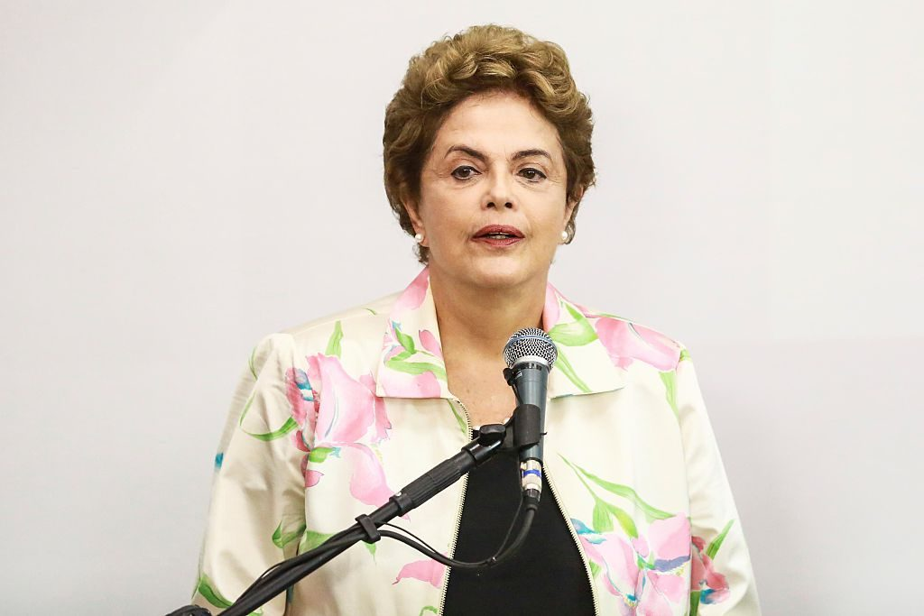 SAO PAULO, BRAZIL - FEBRUARY 22: President of Brazil Dilma Rousseff speaks during the signing ceremony of the contract between the Health Ministry and the Butantan Foundation for the development of a vaccine against four types of dengue virus in a single dose on February 22, 2016 in Sao Paulo, Brazil, (Photo by William Volcov/Brazil Photo Press/LatinContent/Getty Images)