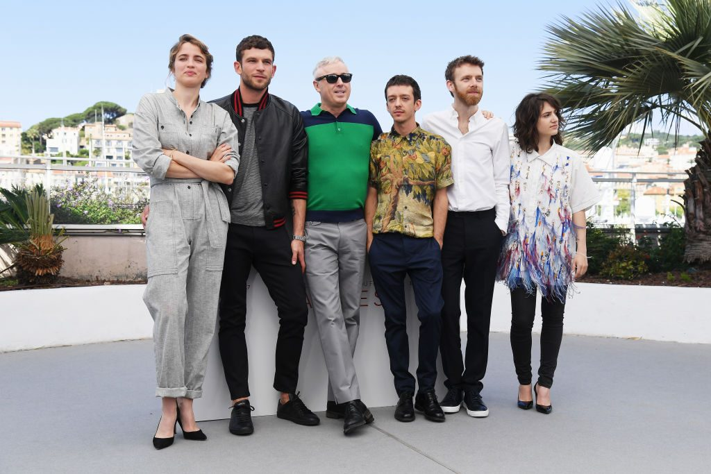 "CANNES, FRANCE - MAY 20: (L-R) Actors Adele Haenel, Arnaud Valois, director Robin Campillo, Nahuel Perez Biscayart, Antoine Reinartz and Aloise Sauvage attend the ""120 Beats Per Minute (120 Battements Par Minute)"" photocall during the 70th annual Cannes Film Festival at Palais des Festivals on May 20, 2017 in Cannes, France. (Photo by Dominique Charriau/WireImage)"