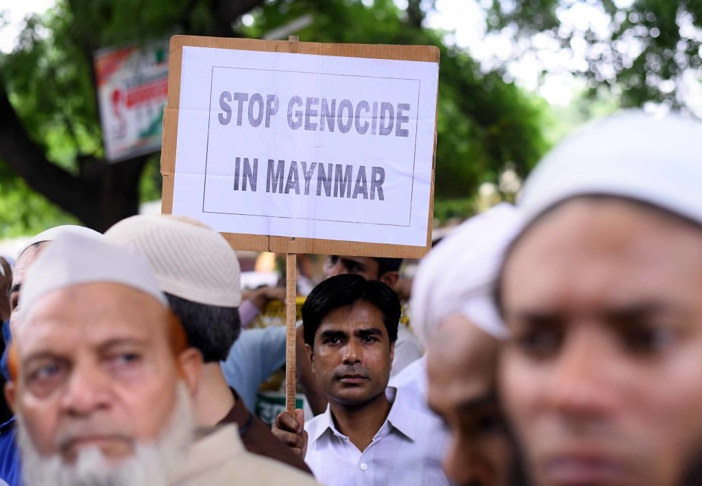 NEW DELHI, INDIA - SEPTEMBER 21: Members of Muslim community protest against the genocide of Rohingya Muslims in Myanmar at Jantar Mantar on September 21, 2017 in New Delhi, India. (Photo by Arun Sharma/Hindustan Times via Getty Images)