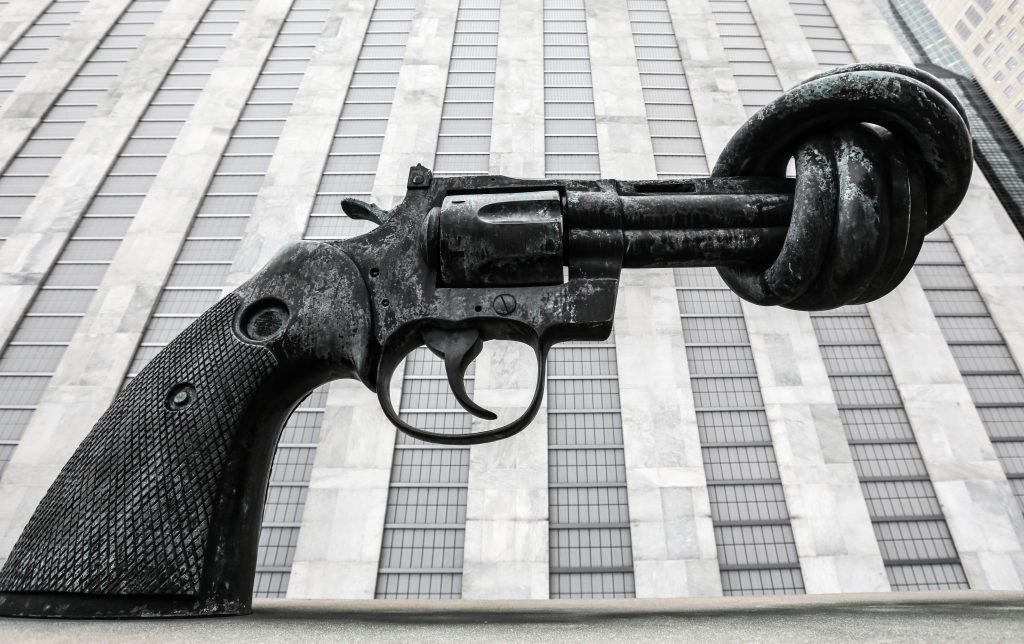 NEW YORK CITY, USA - SEPTEMBER 18, 2017: A Non-Violence bronze sculpture of a revolver with a knotted barrel by Swedish artist Carl Fredrik Reutersward by the United Nations (UN) headquarters in New York City. Alexander Shcherbak/TASS (Photo by Alexander ShcherbakTASS via Getty Images)