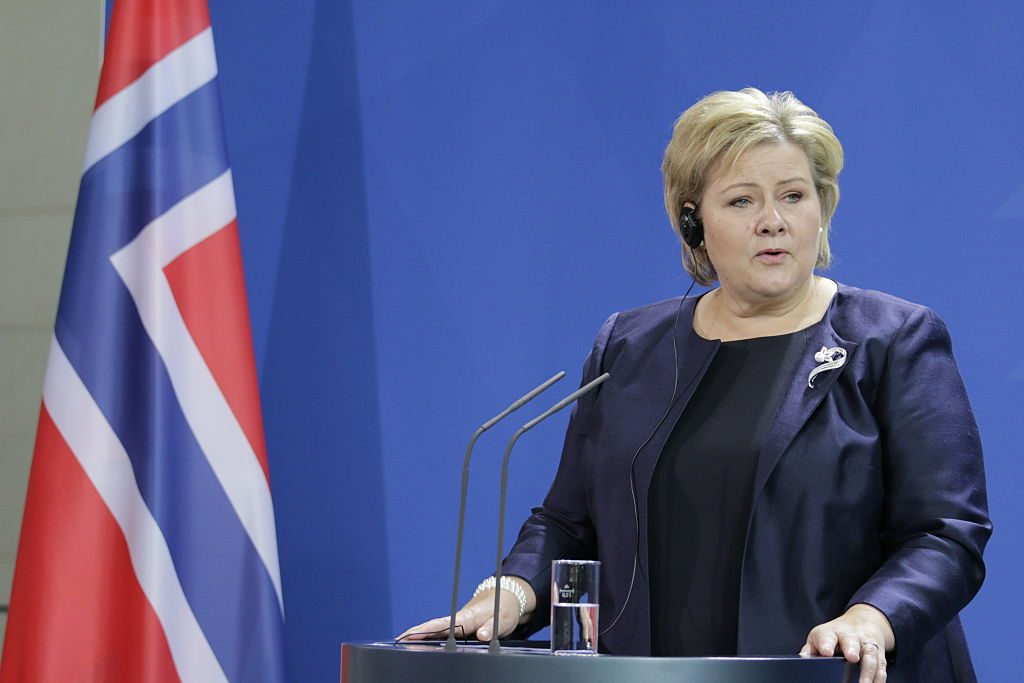 (GERMANY OUT) Bundeskanzleramt, Besuch der norwegischen Ministerpräsidentin Erna Solberg in Berlin (Photo by Popow/ullstein bild via Getty Images)